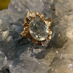 10k Gold & Aquamarine vintage/antique Shield Ring
